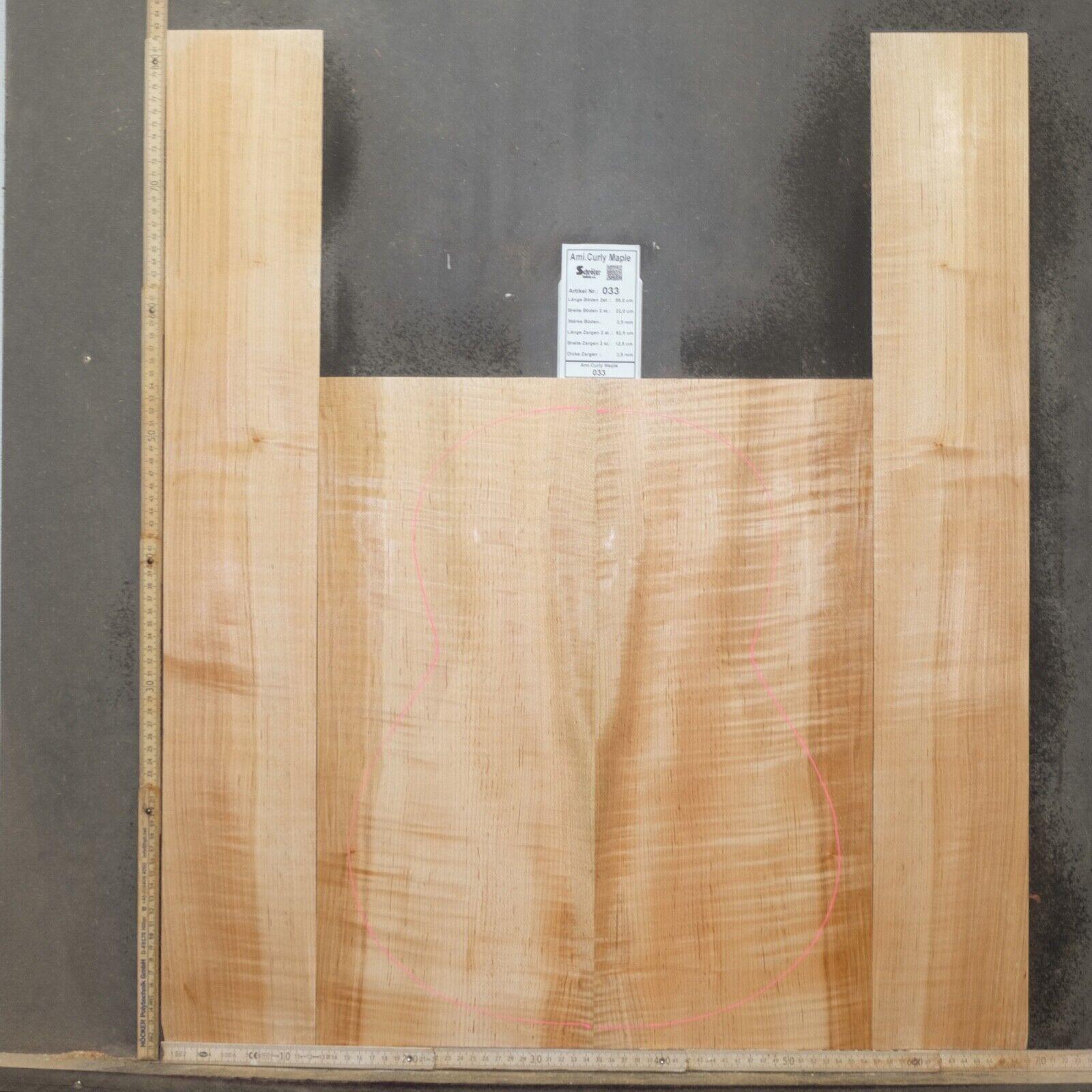 Tonewood Ami Curly Maple Ahorn Guitar Luthier Tonholz Acoustic backs & side 033