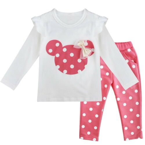 New 2PCS Baby Girls Minnie Outfits Cotton Tops+Pants Polka Dots Kids Clothes Set