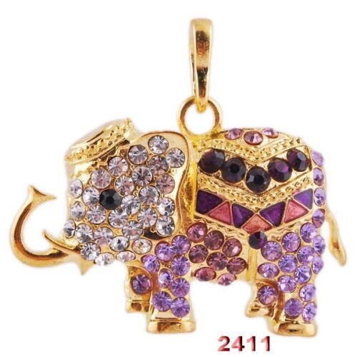 Fashion Crystal Rhinestone Animal Elephant Long Chain Pendant Necklace Jewelry