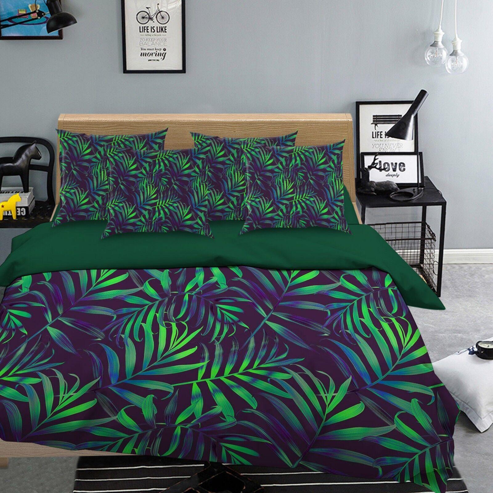 3D Grün Leaves 67 Bed Pillowcases Quilt Duvet Cover Set Single King UK Summer