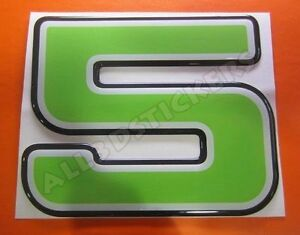 3D-Stickers-Resin-Domed-NUMBER-5-FIVE-Color-Green-100-mm-4-inches-Adhesive