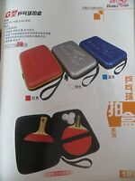 Double Fish Ping Pong Paddle Table Tennis Racket Hard Case Bag Pouch Cover (+bat