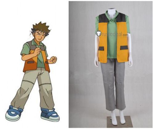 NEW  Pokemon Trainer Brock Orange Cosplay Costume  HH.031
