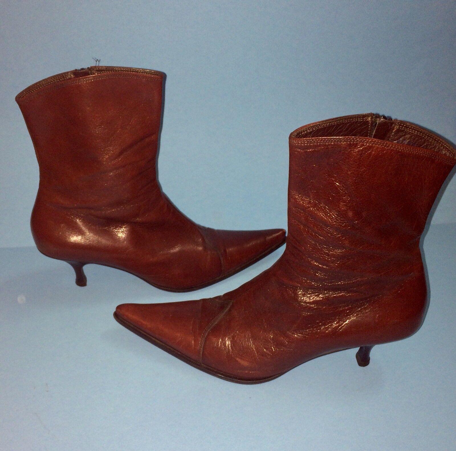 SESTO MEUCCI Burgundy Leather Mid Calf Boots Kitten Heel Heel Heel  Made in   SZ 39 f93cb6