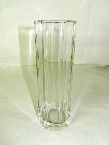 Vaso lungo di cristallo BOHEMIA Anni 60 Forma ottagonale OMA19