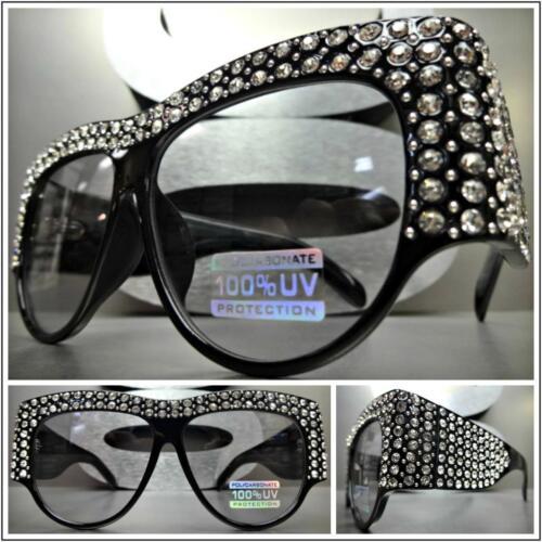 OVERSIZE VINTAGE RETRO Style BLING SUN GLASSES Thick Black Frame Light Tint Lens