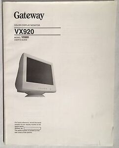 gateway vx920 crt color display monitor manual user s guide 2000 ebay rh ebay com gateway monitor fpd2275w manual gateway 2100 monitor manual