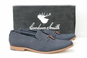 Goodwin-Smith-Herren-Miltons-Marineblau-Nubuk-Leder-Slipper-Loafer-Schuhe-uk9-eu43-NEU