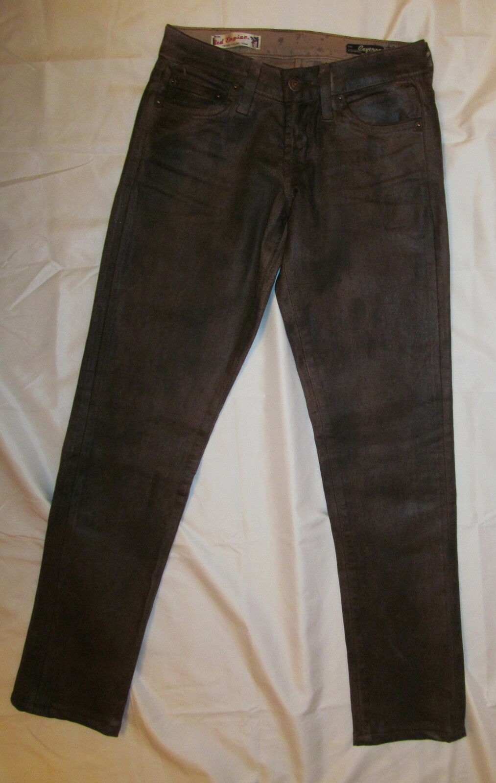 RED ENGINE CAYENNE LOW RISE SKINNY waxed coated leather like brown jeans 25