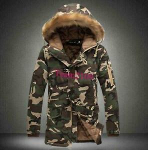 Men-Thicken-Coat-Cotton-Down-Camo-Fur-Collar-Hooded-Camouflage-Jackets-Overcoat