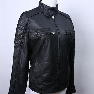 ED-HARDY-BLACK-LEATHER-JACKET-WOMEN-039-S-SIZE-S-MOTORCYCLE-BOMBER-JACKET