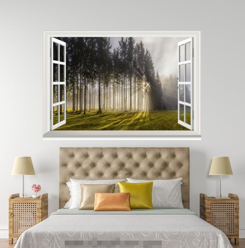 3D Meadow Forest 789 Open Windows WallPaper Murals Wall Print Decal Deco AJ WALL