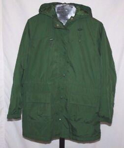 Cherokee Green Women s Long Jacket Parka with Hood Size L 14 FREE ... 6fcc9aa6577b