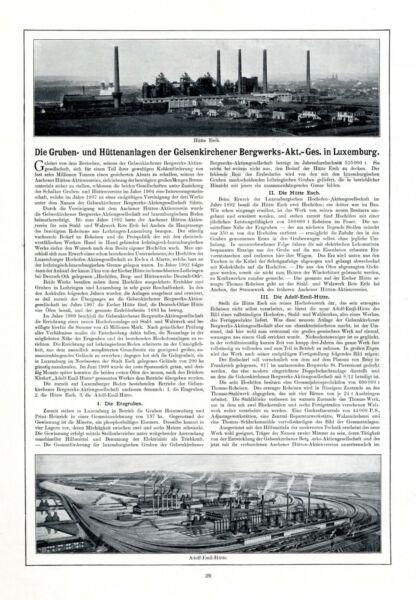 2019 Neuestes Design Gelsenkirchen Bergwerk Ag In Luxemburg Xl Reklame 1912 Hütte Esch Und Emil Adolf
