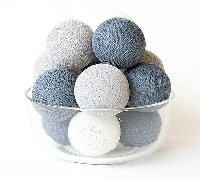 20 LOOSE COTTON BALLS NOT INCLUDE LIGHT STRING, Patio Party, Wedding - Soft Gray