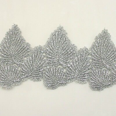 "2.7"" Rayon Embroidery Scalloped Lace Trim Metallic Bridal wedding Leaf lace"