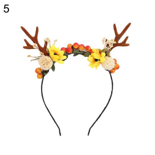 HN FJ KF/_ Antler Flower Berry Headband Hair Hoop Christmas Party Headdress Pho