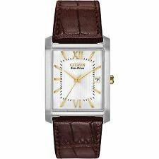 Citizen Eco-Drive Silver Tone White Dial Brown Leather Men's Watch BM6789-02A SD