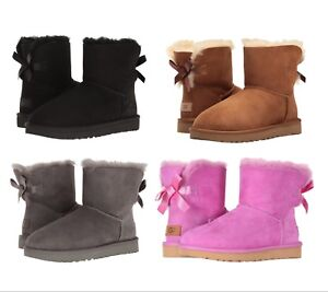 NEW-Authentic-UGG-Women-039-s-Bailey-Bow-Winter-Boots-Shoes-Black-Chestnut-Pink-Grey