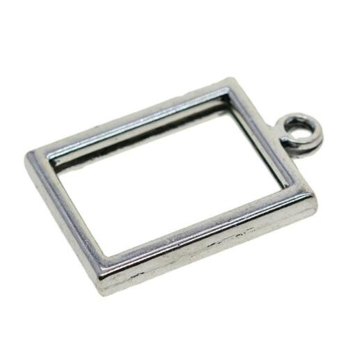 30.5x20mm Open Back Bezel Setting Silver Resin Crafts Jewelry Blank Pendant