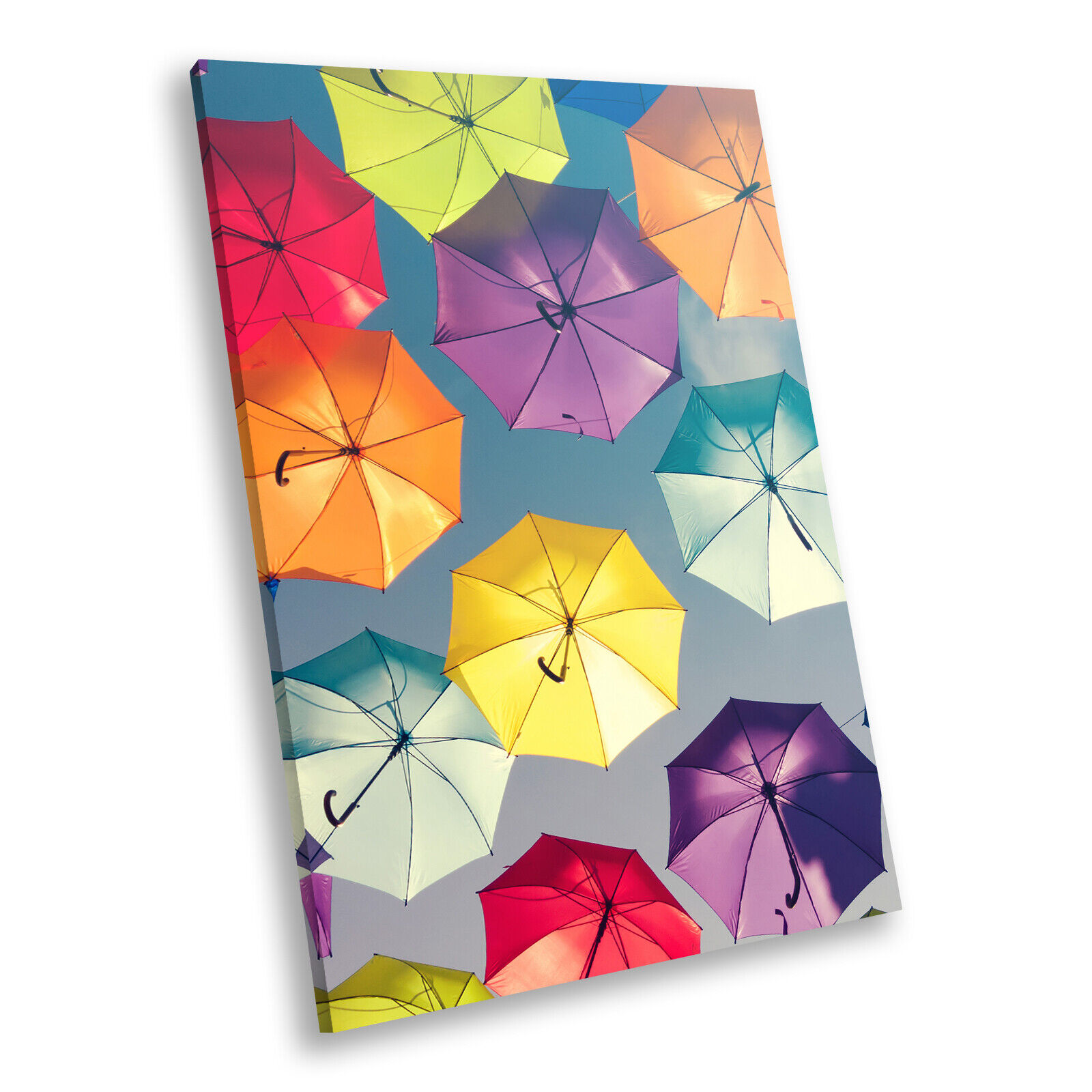 Colourful Retro Umbrellas Portrait Scenic Canvas Framed Kunst Bild