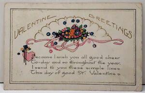 Valentine-Greeting-Pink-Heart-Ribbon-Flowers-1922-Garfield-Utah-Postcard-F1