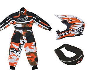 Kinder-Wulfsport-MX-Motocross-Satz-Helm-Nacken-Krause-orange-Tarnmuster-Overall
