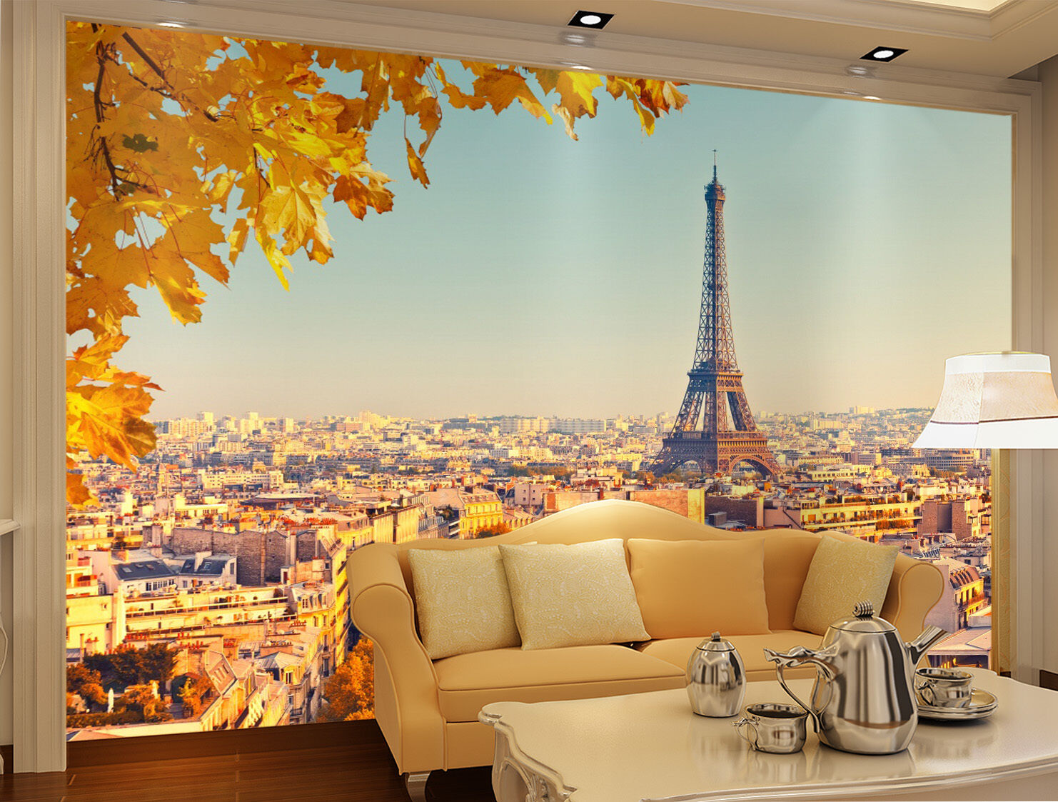 3D Eiffel Tower Maple 835 Wallpaper Mural Paper Wall Print Wallpaper Murals UK