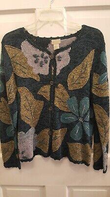 Sigrid Olsen floral and leaf sweater size M   eBay