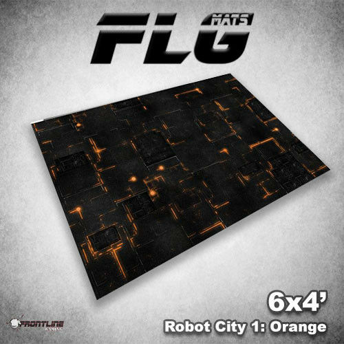 FLG Mats  Robot City orange 6x4 'High Quality Neoprene Tablettp Gaming Mat