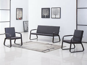 3 Pcs Sofa Set Reception Room Office Chair Guest Sofa Waiting