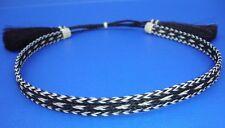 Western Cowboy HAT BAND 5 Strand Black/White Thick Braid Horsehair/Tassels
