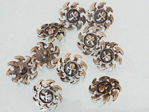 10 x SKULL conchos Antique Silver Plated 20x20 mm NEW  *FREE SHIPPING*