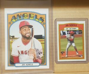 2021 Topps Heritage JO ADELL HOBBY BOX TOPPER  lot In action variation RC Rookie