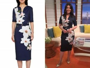 Ted-Baker-Chatsworth-Floral-Bloom-Dress-Size1-UK8-Bodycon-Midi-Style-Rare-Navy