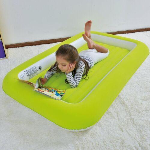 KIDS AIR BED GREEN INFLATABLE FLOCKED INDOOR OUTDOOR CAMPING GUEST SLEEPOVER