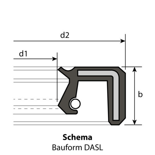 1 Radial-Wellendichtring 30 x 62 x 7 mm DASL NBR 70