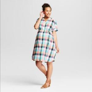 TARGET-Ingrid-amp-Isabel-Maternity-Plaid-Shirt-Dress-Multi-Color-MISSING-BELT-New