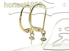 14K Yellow Gold Filled France Leverback Earring Setting & Pin Finding 2 Pieces