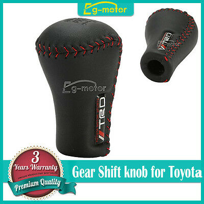 JDM TRD Black Leather Red Stitch 5SP Manual Shifter Shift Knob For Toyota Lexus