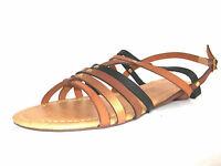 F0699- Ladies Brown Multi Spoton Flat Gladiator Sandals- Great Price!