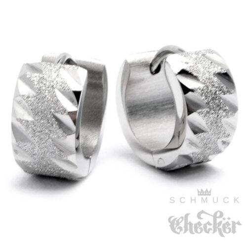 Edelstahl Ohrringe Klapp-Creolen silber diamantiert funkelnd glizernd 13mm Ø