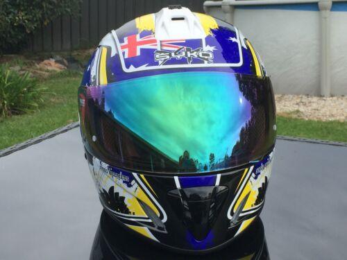 XL Patriot Australian Flag Motorbike Road Helmet w Blue Iridium Visor
