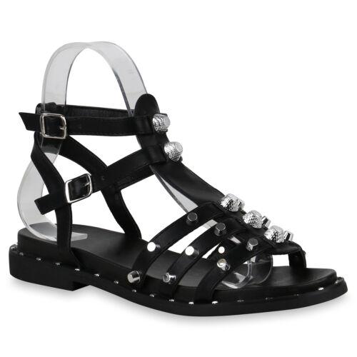 Damen Römersandalen Nieten Sandalen Leder-Optik Sommer 822937 Schuhe