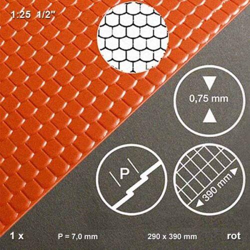 Biberschwanz Dachplatte 1:25 rot tiefgezogen 290 x 390 x 0,7 mm 158,71€//m²