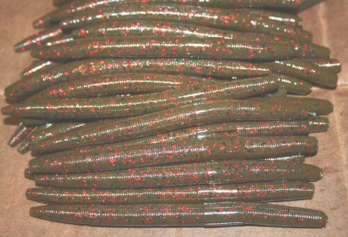 """5/"""" Stick Senko Style Green Pumpkin Red Fleck 100 pack Bulk Bass Plastic Worms"""