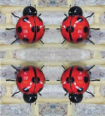 UK 3Pcs Garden Home Iron Wall Art Craft Ladybug Shape Outdoor Hanging Ornament