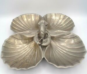 Vintage-Bruce-Fox-Cast-Aluminum-Lobster-4-Part-Clam-Shells-Serving-Dish