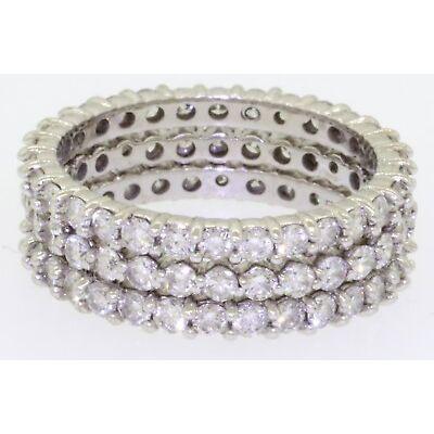 18K WG elegant 3.0CT diamond 3-piece eternity band ring set size 6.25