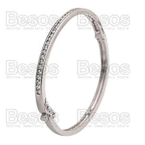 CUBIC-ZIRCONIA-bangle-BRACELET-rhodium-silver-polished-ELEGANT-CZ-crystal-GIFT